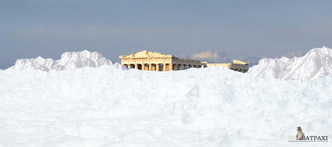 Αποκλειστική φωτογραφία της Ακρόπολης μετά τις χιονοπτώσεις στην Αθήνα (ΦΩΤΟ)